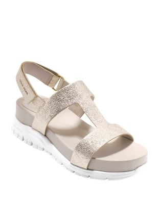Zerogrand Leather T-Strap Sandals by Cole Haan