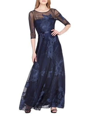 Embroidered Mesh Ball Gown by Tahari Arthur S. Levine