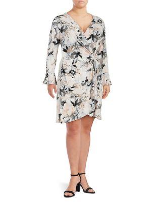 Plus Floral-Print Bell-Sleeve Wrap Dress 500087778372