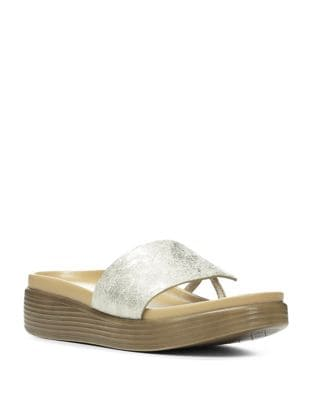 Fifi 9 Metallic Leather Slides by Donald J Pliner