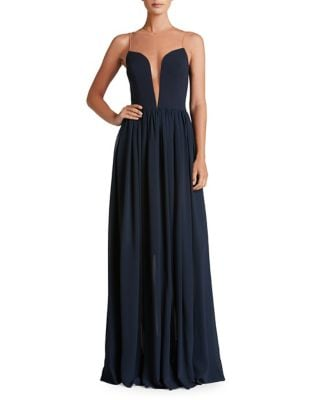 Bridgette Plunging Floor-Length Gown by Dress The Population