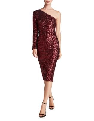 Chrissie Sequined One-Shoulder Dress by Dress The Population