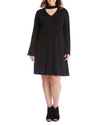 Plus Choker Neck Taylor A-Line Dress 500087783930