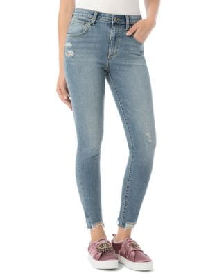The Stiletto Distressed Skinny Ankle Jeans 500087786655
