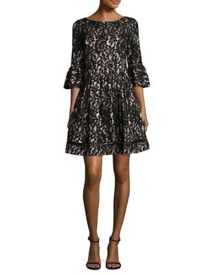 Lace Bell-Sleeve Fit-&-Flare Dress by Eliza J