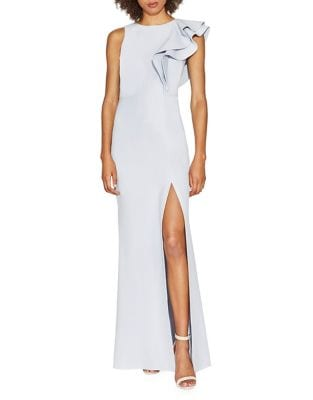 Ruffle-Shoulder Front Slit Gown by Halston Heritage