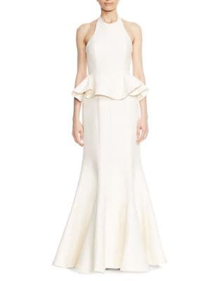 Flared Ruffled Evening Gown by Halston Heritage