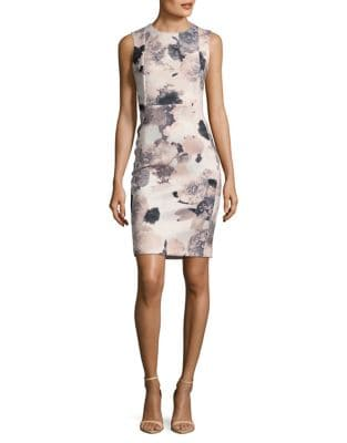 Floral-Print Sheath Dress by Calvin Klein