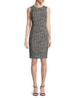 Houndstooth-Print Sheath Dress by Calvin Klein