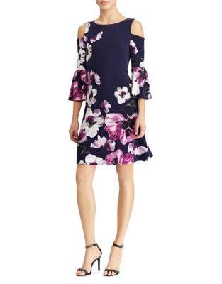 Floral Cold-Shoulder Sheath Dress by Lauren Ralph Lauren