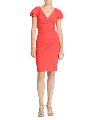 Flutter-Sleeve Jersey Sheath Dress by Lauren Ralph Lauren