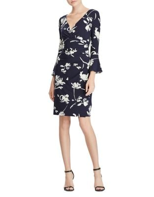 Floral Bell-Sleeve Jersey Sheath Dress by Lauren Ralph Lauren