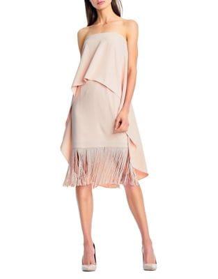 Crepe and Fringe Knee-Length Dress by Aidan Aidan Mattox
