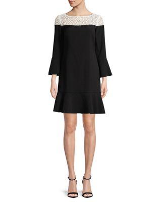 Peplum Bell-Sleeve Dress by Karl Lagerfeld Paris