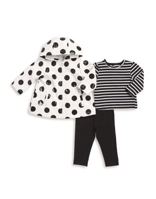Baby Girls ThreePiece Jacket Cotton Top and Leggings Set
