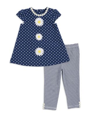 Baby Girls TwoPiece Floral Dress and Striped Leggings Set