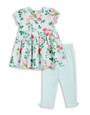 Baby Girls TwoPiece FloralPrint Dress and Leggings Set