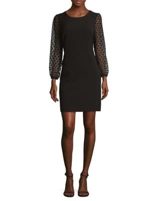 Dotted Velvet Sheath Dress by Karl Lagerfeld Paris