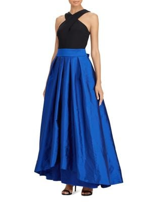 Photo of Taffeta Fit-and-Flare Gown by Lauren Ralph Lauren - shop Lauren Ralph Lauren dresses sales