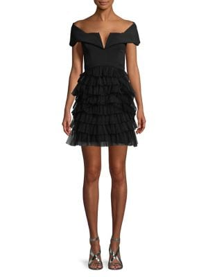 Marquise Off-The-Shoulder Ruffle Dress 500087794328