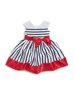 Little Girl's Striped Nautical Sleeveless Dress 500087794832