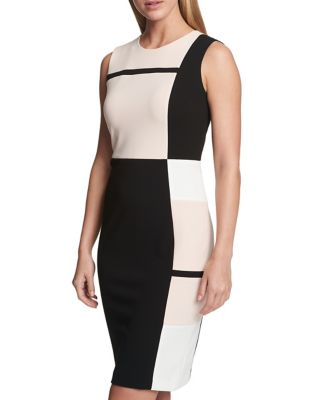 Colorblock Scuba Crepe Sleeveless Sheath Dress by Tommy Hilfiger