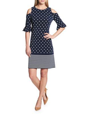 Dotted Cold-Shoulder A-Line Dress by Tommy Hilfiger