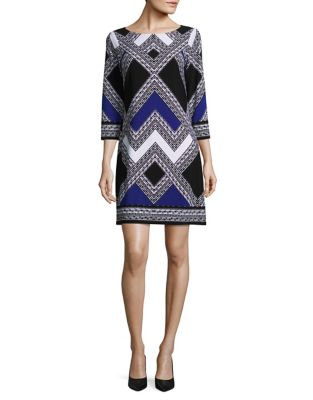 Chevron Colorblock Shift Dress by Vince Camuto