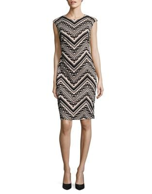 Geo-Print Cap Sleeve Sheath Dress by Vince Camuto