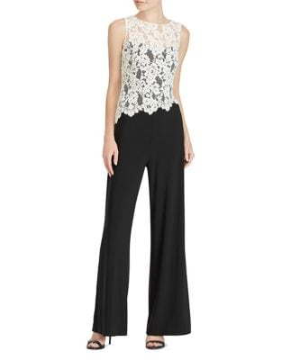 Lace-Trim Wide-Leg Jumpsuit by Lauren Ralph Lauren