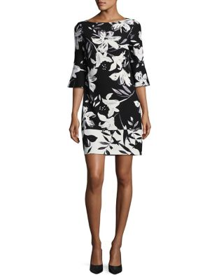 Floral Flare Sleeve Shift Dress by Vince Camuto