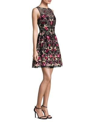 Floral Embroidered Flare Dress by Shoshanna