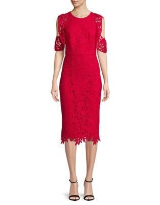MIDNIGHT Ruffle Cold-Shoulder Lace Midi Dress by Shoshanna