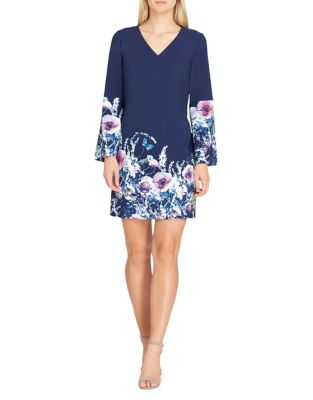 Floral Bell-Sleeve Scuba Shift Dress by Tahari Arthur S. Levine