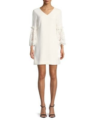 Lace Bell-Sleeve Shift Dress by Tahari Arthur S. Levine