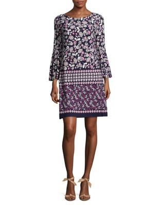 Printed Three-Quarter Bell Sleeve Dress by Eliza J