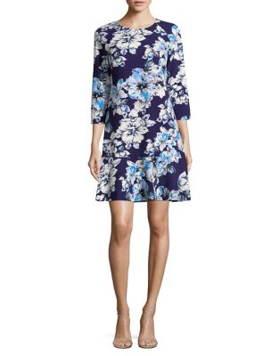 Printed Three-Quarter Sleeve Dress by Eliza J