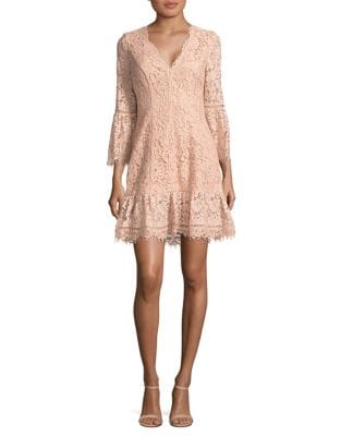Three-Quarter Bell Sleeve Lace Dress by Eliza J