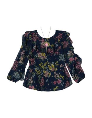 Girl's Floral Chiffon...