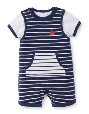 Baby Boys TwoPiece Sailboat Stripe Overall Set