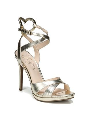 Naima Metallic Leather Ankle Strap Sandals by Fergie