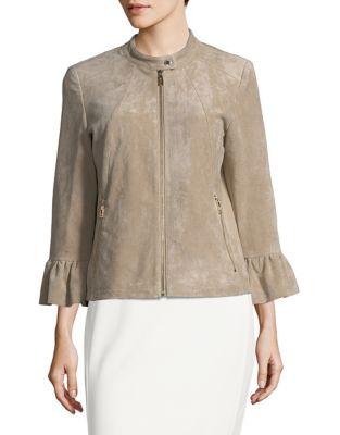 Suede Flounce-Sleeve Jacket by Ivanka Trump