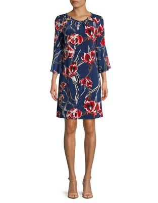 Floral-Print Bell-Sleeve Dress by Ivanka Trump