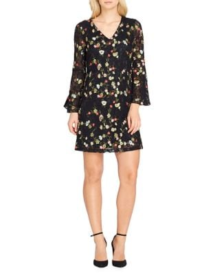 Petite Long Sleeve Floral Lace- Embroidered Dress by Tahari Arthur S. Levine