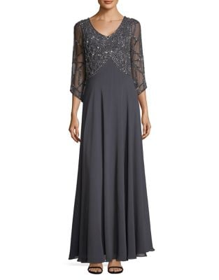 Embellished Three-Quarter Floor-Length Gown by J Kara
