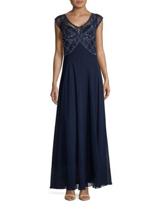 Beaded Cap-Sleeve Gown by J Kara