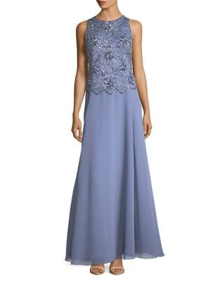 Embellished Sleeveless Floor-Length Gown by J Kara