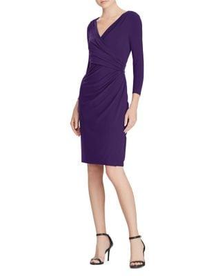 Photo of Petite Petite Jersey Wrap Dress by Lauren Ralph Lauren - shop Lauren Ralph Lauren dresses sales