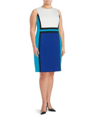 Plus Colorblocked Sheath Dress by Calvin Klein