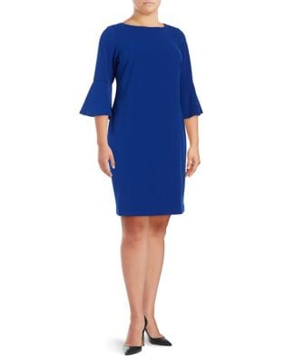 Plus Bell Sleeve Sheath Dress by Calvin Klein